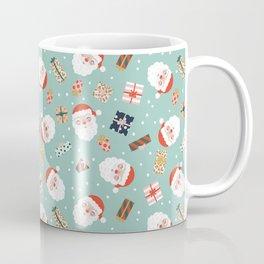Santa Head and Presents Pattern Coffee Mug