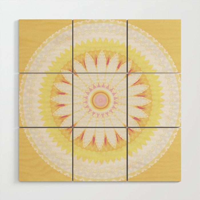 Sunshine Yellow Flower Mandala Abstract Wood Wall Art by ...