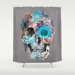 floral skull 3 Shower Curtain