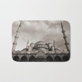 Blue Mosque in Grey Bath Mat