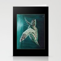 "biology Stationery Cards featuring ""Moonlit"" - Green Sea Turtle, Acrylic by Amber Marine"