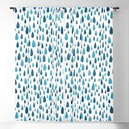 Blue Raindrops Blackout Curtain