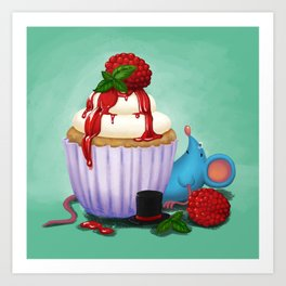 Mr. Bluemouse and a Cranberry Cupcake Art Print