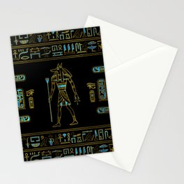 Anubis Egyptian  Gold and blue stained glass Stationery Cards