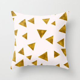 Soft Pink And Rustic Gold Triangles Throw Pillow