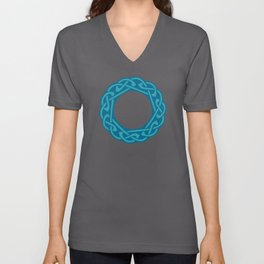 St. Patrick's Day Celtic Blue Mandala #2 Unisex V-Neck