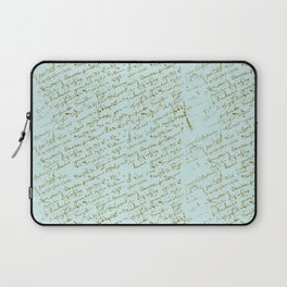 French Script on Paris Blue Laptop Sleeve