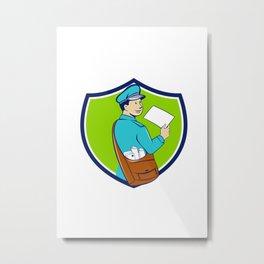 Mailman Deliver Letter Crest Cartoon Metal Print