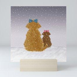 Cute Dogs Winter Scene Mini Art Print