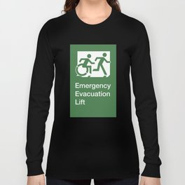 Accessible Means of Egress Icon, Emergency Evacuation Lift / Elevator Sign Long Sleeve T-shirt