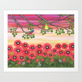 Painted buntings, poppies, and snails Art Print