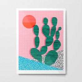 'Sup - cactus throwback retro memphis style neon art print 80s 1980s pop art desert socal palm Metal Print