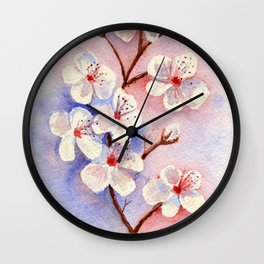 Cherry Blossoms–Watercolor Wall Clock