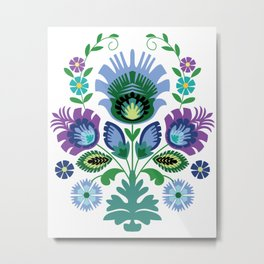 Polish Folk Flowers Blue Metal Print