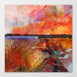 Landscape with sunset Canvas Print