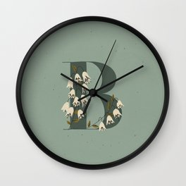 B for Bellflower Wall Clock