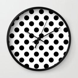 Black and White Medium Polka Dots Wall Clock