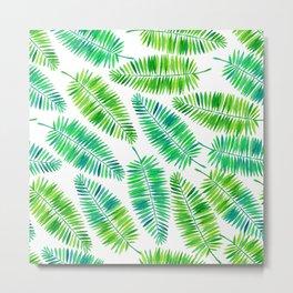 Watercolor palm leaves pattern Metal Print