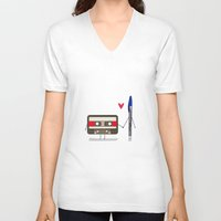 pen V-neck T-shirts featuring Love: cassette and pen by AlbaRicoque