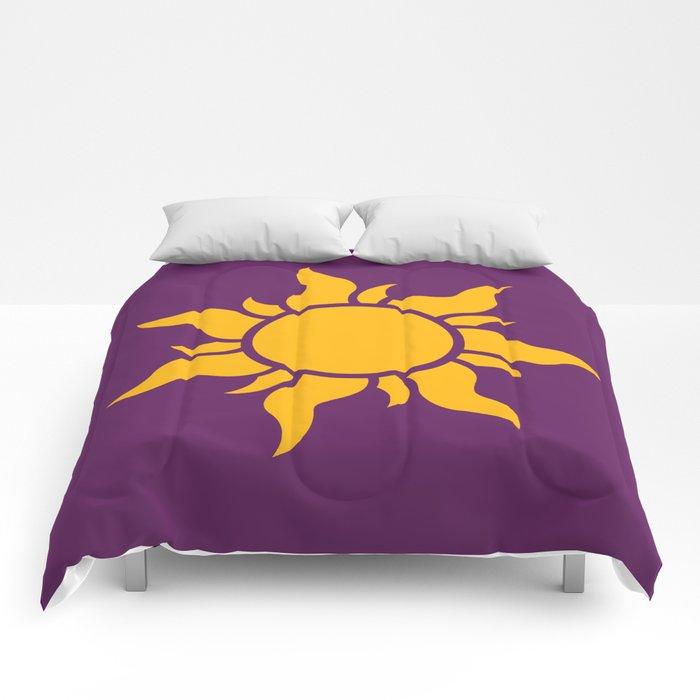 Tangled Rapunzel Sun Logo Corona Symbol Comforters By Teohoble Society6