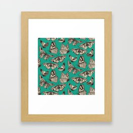 summer butterflies teal Framed Art Print
