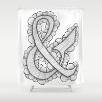 ampersand Shower Curtains featuring Ampersand by Laura Maxwell