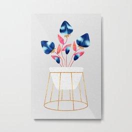 Blue Strawberry Flowers Metal Print