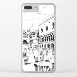Sketch of San Marco Square in Venice Clear iPhone Case