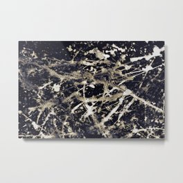 Abstract expressionism pattern. Style of drip painting. Black, gold and white paint. Metal Print
