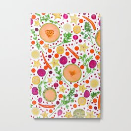 Fruits and vegetables pattern (19) Metal Print