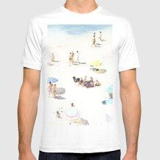 beach White Mens Fitted Tee MEDIUM