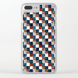 Turquoise Orange Cream Patchwork Clear iPhone Case
