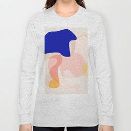 Modern Abstract Peach Pink Navy Blue Yellow Pattern Long Sleeve T-shirt