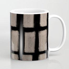 Brush Strokes Vertical Lines Nude on Black Coffee Mug