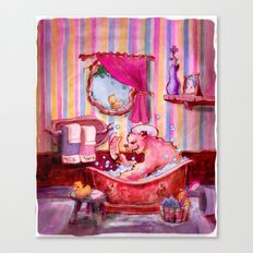 Theres a Bear in the Bath Canvas Print