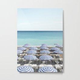 Blue Beach Umbrellas Photo | French Riviera Coastal Travel Photography Art Print | Summer In France Europe Metal Print