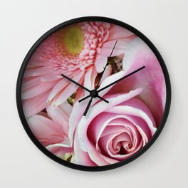 Pink Flower Duo Wall Clock