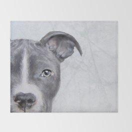 pit bull silver grey tone Throw Blanket