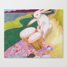 Bongo Bunny on a Pebble Beach Canvas Print