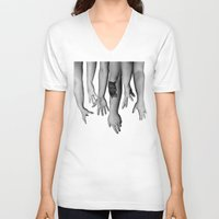 hands V-neck T-shirts featuring Hands by Austin Collins