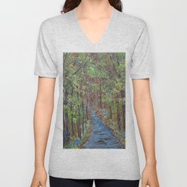 Deep in the Woods, Impressionism Landscape, Rustic Earth Tone Colors Unisex V-Neck