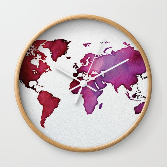 Red pink world map wall clock by serigraphonart society6 gumiabroncs Gallery