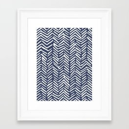 Boho Herringbone Pattern, Navy Blue and White Framed Art Print