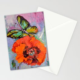 Opium Addiction, Butterfly On Poppy, Poppy Oil Painting Stationery Cards