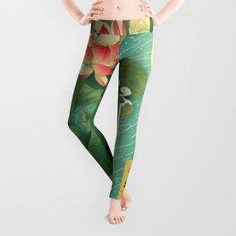 Chinese Lotus Full Moon Garden :: Fine Art Collage Leggings