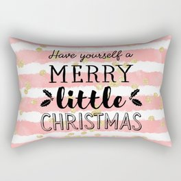Christmas pink watercolor stripes gold confetti Rectangular Pillow