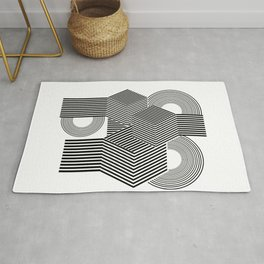 Minimal geometric black abstract Rug
