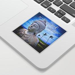 """Go where you feel most alive"" quote Hawaiian white Buddha Sticker"