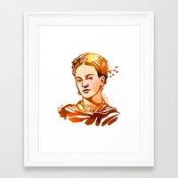 frida kahlo Framed Art Prints featuring FRIDA KAHLO by BIG Colours