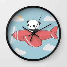 Kawaii Cute Panda Flying Wall Clock